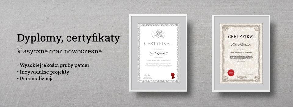 Certyfiaktym dyplomy, podziękowania, bony